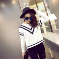 Winter Sweater Fashion Navy O-Neck Flat Knitted Female Slim - White