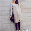 Winter Sweater Fashionable Female Long Thread Split Solid Full Sleeve - Grey