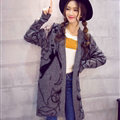 Winter Sweater Female Big Geometric Cardigans Temperament Cardigan Coat - Grey