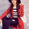 Winter Sweater Female Big Geometric Cardigans Temperament Cardigan Coat - Red