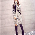 Winter Sweater Female Big Geometric Cardigans Temperament Cardigan Coat - White
