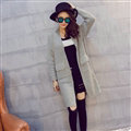 Winter Sweater Female Cardigans Fashion Pockets Coat Pocket V Collar Thin - Grey