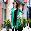 Winter Sweater Female Coat Cardigan Fashion Flat Knitted Pockets Long Sleeved - Green