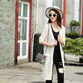 Winter Sweater Female Coat Cardigan Fashion Flat Knitted Pockets Long Sleeved - White