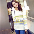 Winter Sweater Female Full Sleeve Color Fashion Thick Warm Thick - White