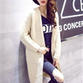 Winter Sweater Female Overcoat Striped Cardigans Long Thick Warm Loose - Beige