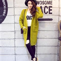 Winter Sweater Female Overcoat Striped Cardigans Long Thick Warm Loose - Green