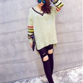 Winter Sweater Female Thread V Collar Loose Thick Warm Stripe - Green