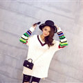 Winter Sweater Female Thread V Collar Loose Thick Warm Stripe - White