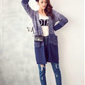 Winter Sweater Female V-Neck Cardigan Coat Long Patchwork Warm Thick - Blue