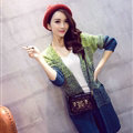 Winter Sweater Female V-Neck Cardigan Coat Long Patchwork Warm Thick - Green