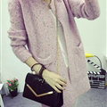 Winter Sweater Female V-Neck Long Loose Thin Pocket Trend - Pink