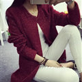 Winter Sweater Female V-Neck Long Loose Thin Pocket Trend - Red