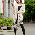 Winter Sweater Flat Knitted Patchwork Coat Female Long Cardigan - Beige