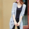 Winter Sweater Flat Knitted Patchwork Coat Female Long Cardigan - Grey