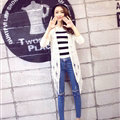 Winter Sweater Flat Knitted Patchwork Coat Female Long Cardigan - White
