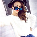Winter Sweater Girl Thin Solid Pullover O-Neck Short Tassel - White