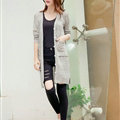 Winter Sweater Girls Pockets Flat Knitted Thin Long Sleeved Cardigan - Beige