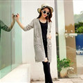 Winter Sweater Girls Pockets Flat Knitted Thin Long Sleeved Cardigan - Grey