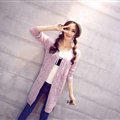 Winter Sweater Girls Pockets Flat Knitted Thin Long Sleeved Cardigan - Pink