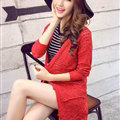 Winter Sweater Girls Pockets Flat Knitted Thin Long Sleeved Cardigan - Red