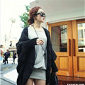 Winter Sweater Long Cardigan Batwing Sleeve Thick Loose Woman - Green