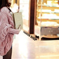Winter Sweater Long Cardigan Batwing Sleeve Thick Loose Woman - Pink