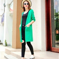 Winter Sweater Open Stitch V-Neck Cardigan Coat Girls Long Sleeved - Green