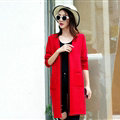 Winter Sweater Open Stitch V-Neck Cardigan Coat Girls Long Sleeved - Red