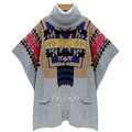 Winter Sweater Patchwork Batwing Half Sleeve Jacquard Turtleneck Knitted Loose Pullover - Grey