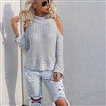 Winter Sweater Simple Fashion All-Match Strapless Turtleneck Knitted Female - Grey