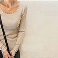Winter Sweater Solid Tight Shirt Womens Stretch Thick - Beige