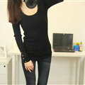 Winter Sweater Solid Tight Shirt Womens Stretch Thick - Black