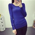 Winter Sweater Solid Tight Shirt Womens Stretch Thick - Blue