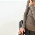 Winter Sweater Solid Tight Shirt Womens Stretch Thick - Coffee