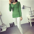 Winter Sweater Solid Tight Shirt Womens Stretch Thick - Green