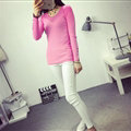 Winter Sweater Solid Tight Shirt Womens Stretch Thick - Pink