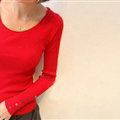 Winter Sweater Solid Tight Shirt Womens Stretch Thick - Red