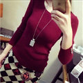 Winter Sweater Solid Tight Shirt Womens Stretch Thick - Wine Red