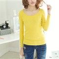 Winter Sweater Solid Tight Shirt Womens Stretch Thick - Yellow