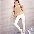 Winter Sweater Thin Women Crocheted Novelty Hollow Sexy Irregular - Khaki