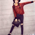 Winter Sweater Thin Women Crocheted Novelty Hollow Sexy Irregular - Red