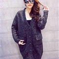 Winter Sweater V Collar Thick Flat Knitted Female Warm - Dark Grey