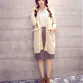 Winter Sweater V Collar Thick Flat Knitted Female Warm - White