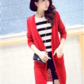 Winter Sweater Women Cardigan Crocheted Making Solid Hollow - Red
