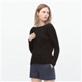 Winter Sweater Women Casual Deep V Collar Backless Simple Casual - Black