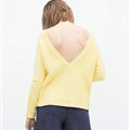Winter Sweater Women Casual Deep V Collar Backless Simple Casual - Yellow