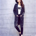 Winter Sweater Women Fashion Loose Cardigan Coat Thick Warm V Collar - Black