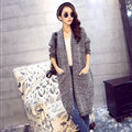 Winter Sweater Women Long Paragraph Knee Loose Knit Cardigan Split Long Sleeved - Grey