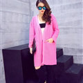 Winter Sweater Wowen Cardigan Solid Coat Thick Loose Sleeved Warm - Pink